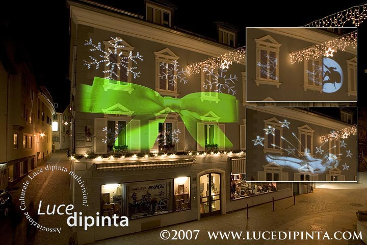 Christmas projection on the streets of Schlanders, South Tyrol, Italy