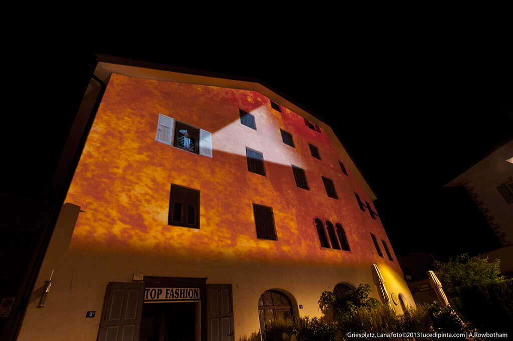Architectural projection in Griesplatz, Lana, Italy 2013