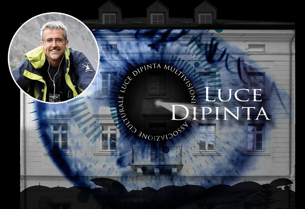Luce Dipinta logo projected on to a building at the Water Light Festival 2018