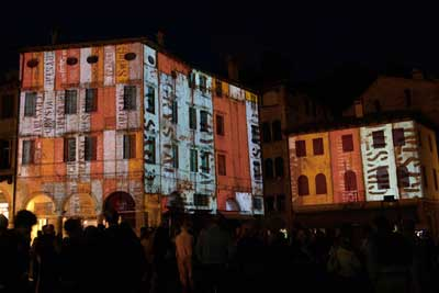 Fantadia - building projection in Piazza Gaibaldi, Asolo, Italy